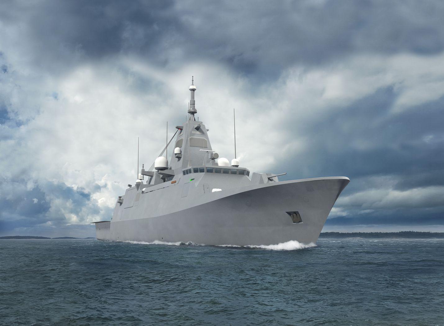Uusi sotalaiva Merivoimien havainnekuvassa.