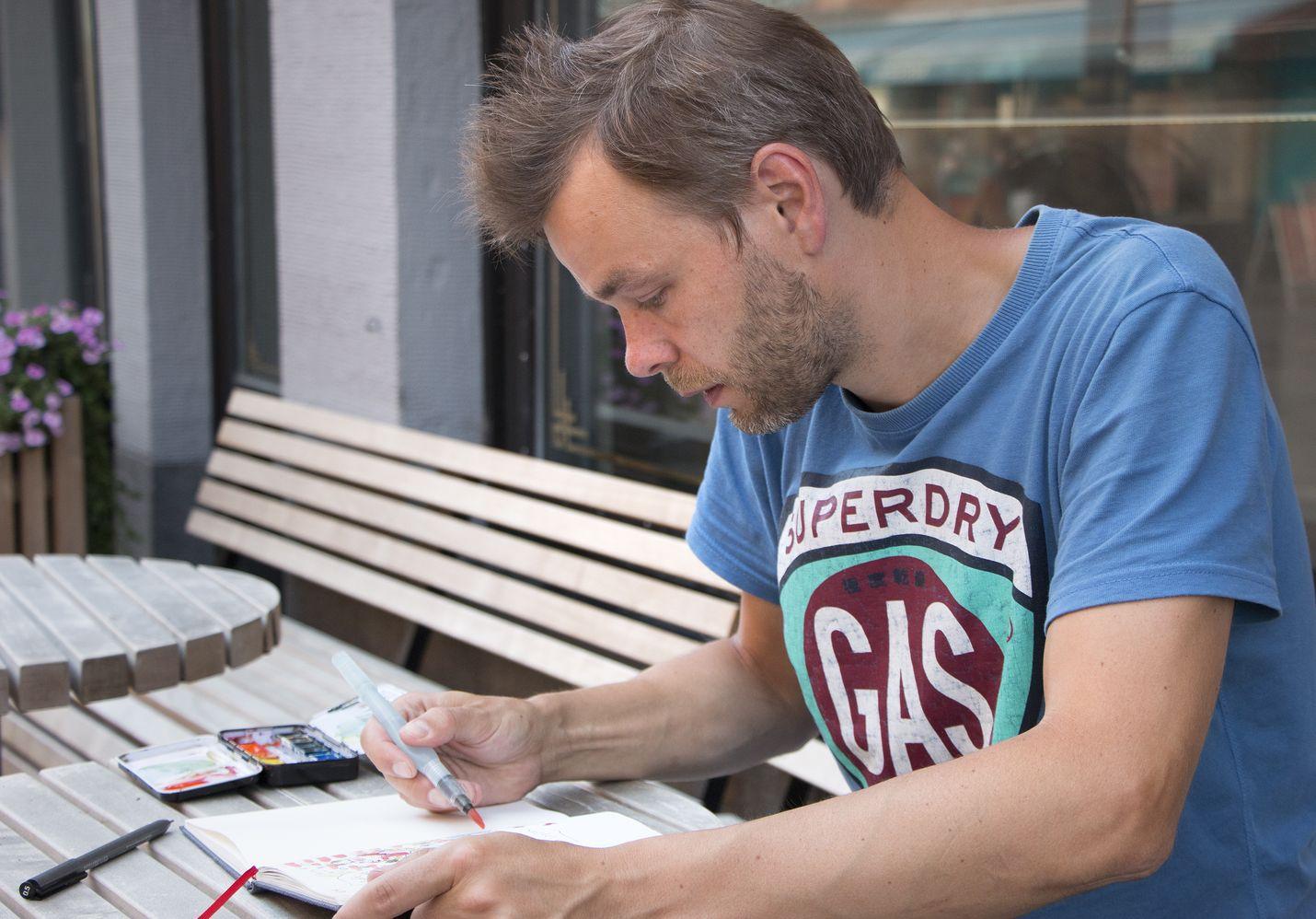 Pilapiirtäjä Ville Rannan lamppu syttyi viime perjantaina, kun hän muisti syksyllä tekemänsä piirroksen.