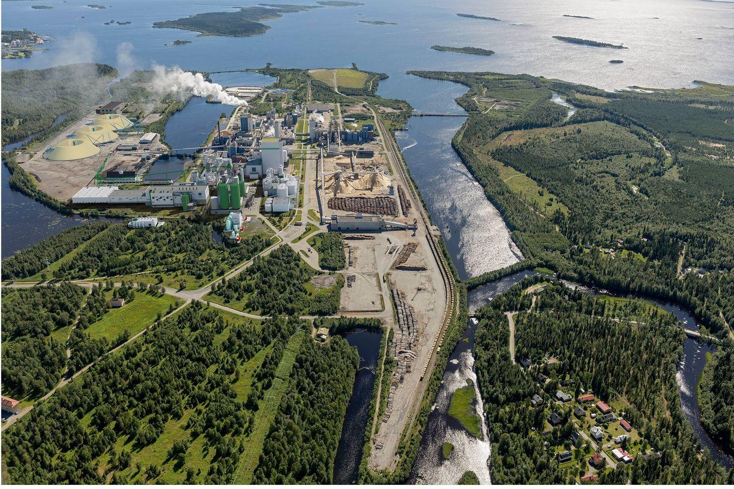 Havainnekuva Metsä Groupion Kemin tehtaasta.