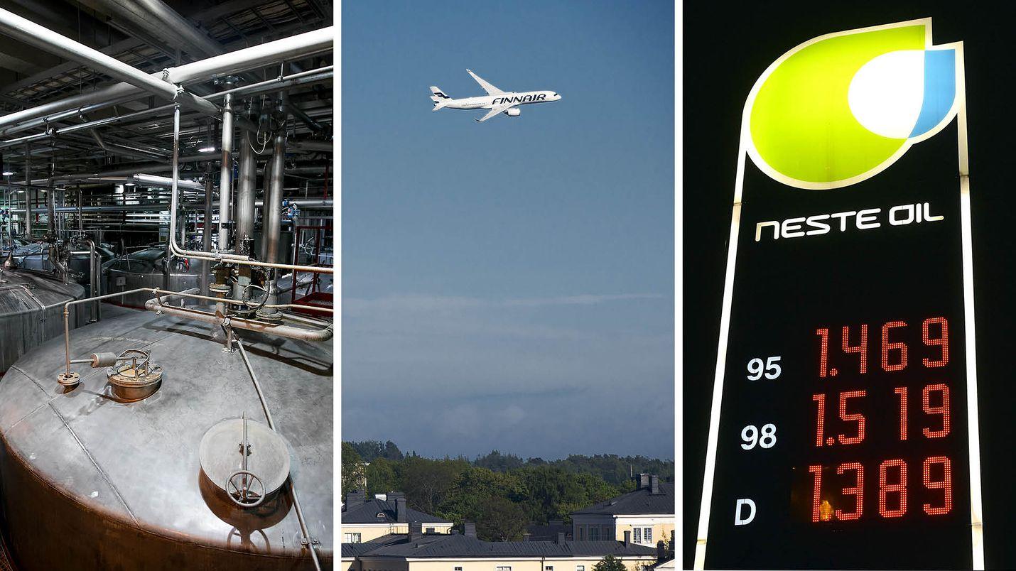 Valtio omistaa yli 36 prosenttia alkoholiyhtiö Altiasta, yli 55 prosenttia Finnairista ja 44 prosenttia energiayhtiö Nesteestä.