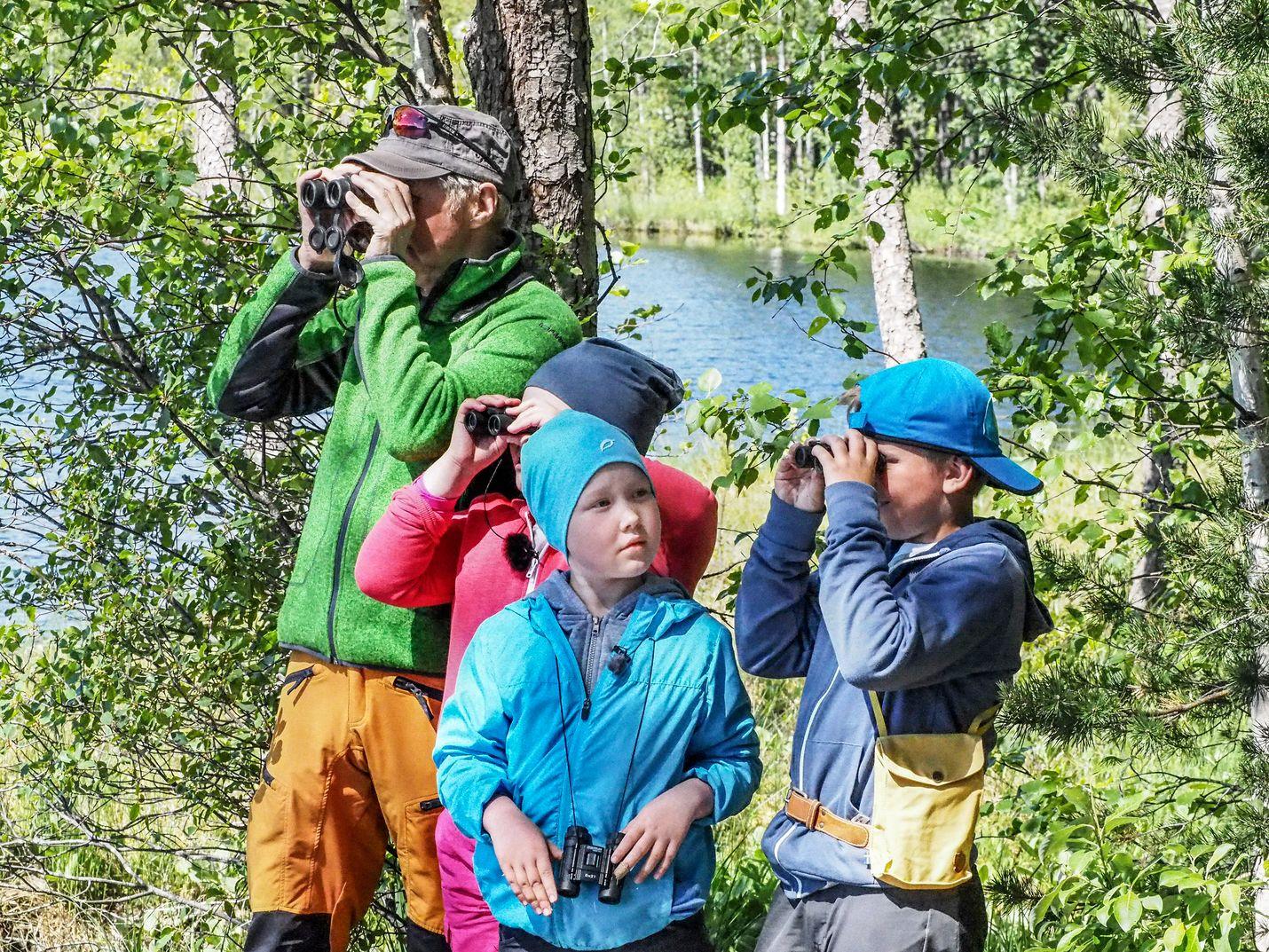 Pirkka-Pekka Petelius, Oskari Järvelä, Mea Packalén ja Nuppu Tammi kiikaroivat lintuja. He näkevät järvellä muun muassa naurulokkeja.
