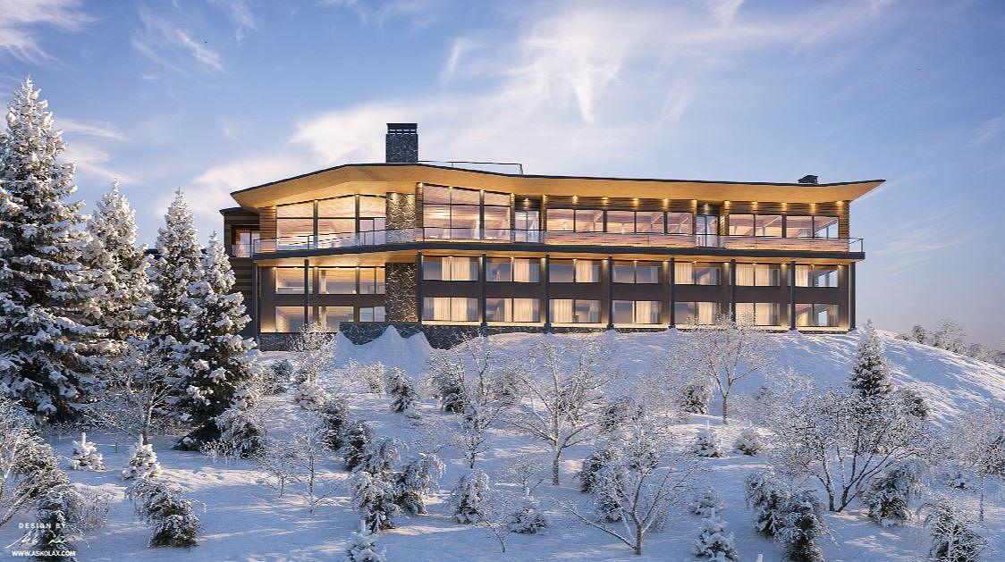 Hotelli Iso-Syötteen on suunnitellut pudasjärveläinen arkkitehti ja muotoilija Asko Lax. Havainnekuva siitä, miltä uusi Hotelli Iso-Syöte tulee valmistuttuaan näyttämään.