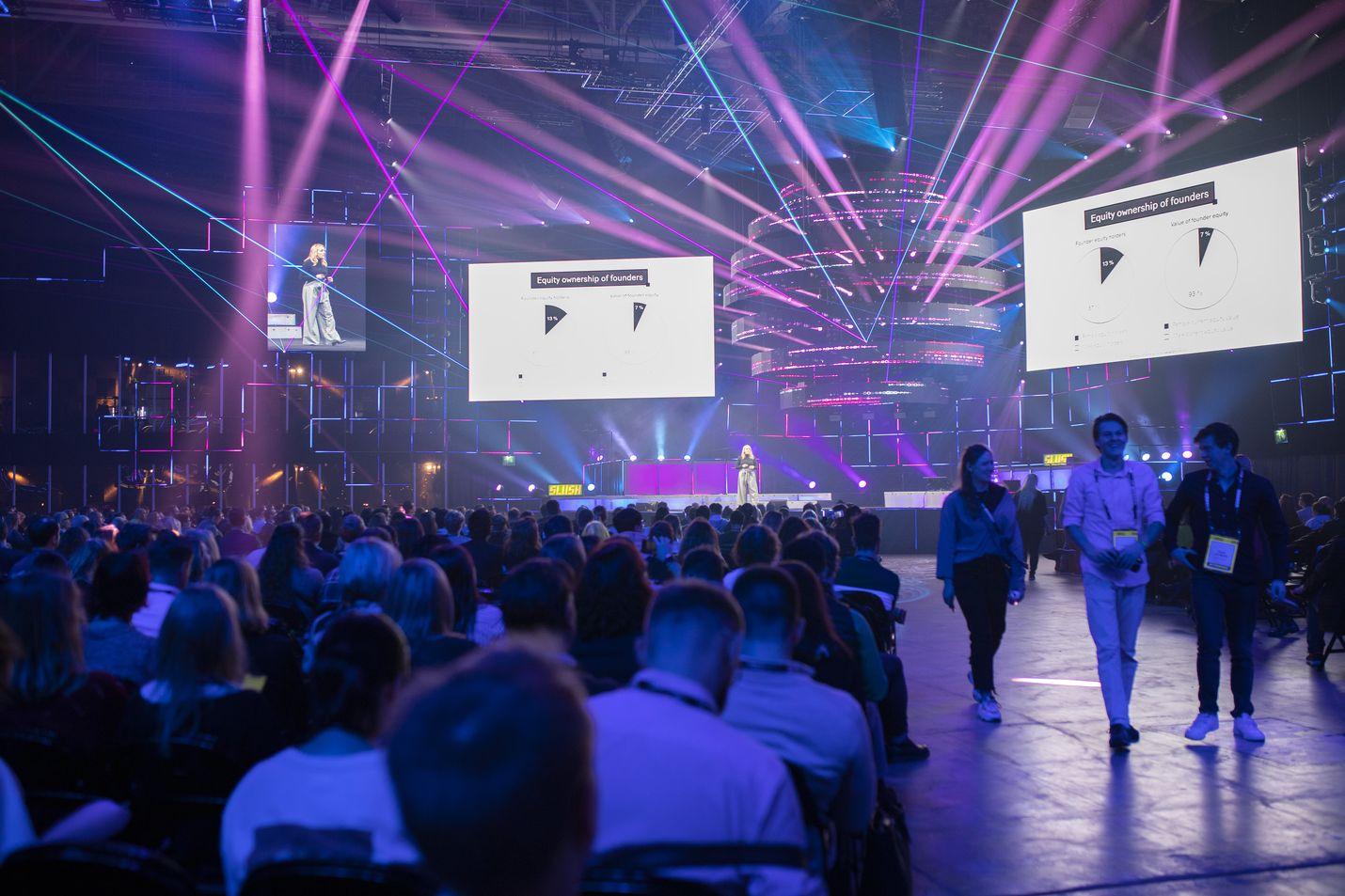 Teknologia- ja sijoitusyhtiöiden puhujien esitykset ovat Slushin suosituimpia ohjelmanumeroita.