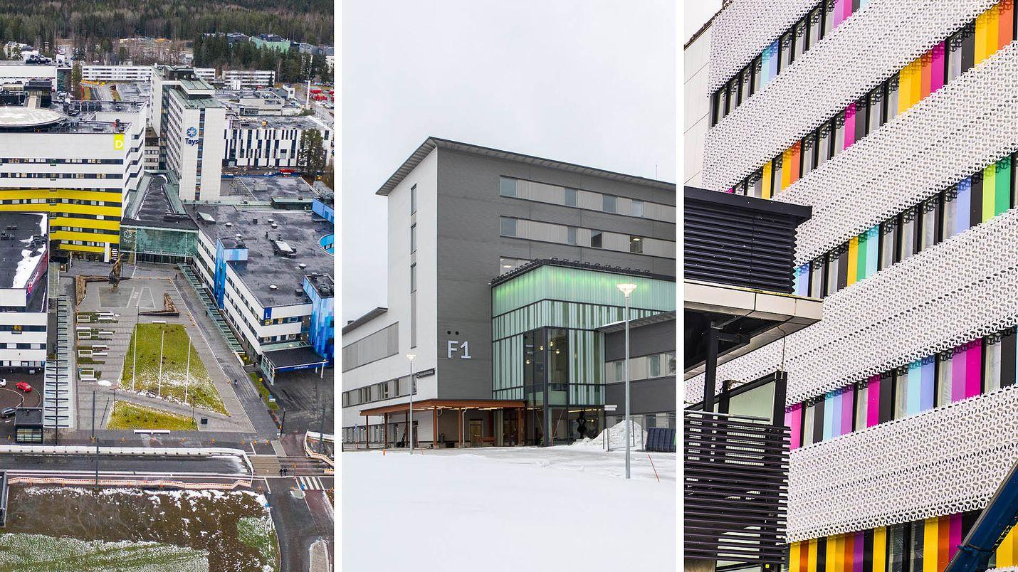 Vasemmalla on Tampereen yliopistollisen sairaalan aluetta. Tampereella avattiin keskiviikkona uusi synnytysyksikkö. Keskellä Kainuun uusi keskussairaala, joka otetaan käyttöön ensi viikolla. Oikealla on Turun yliopistollisen sairaalan rakenteilla oleva uudisrakennus, työnimeltään T3-sairaala.