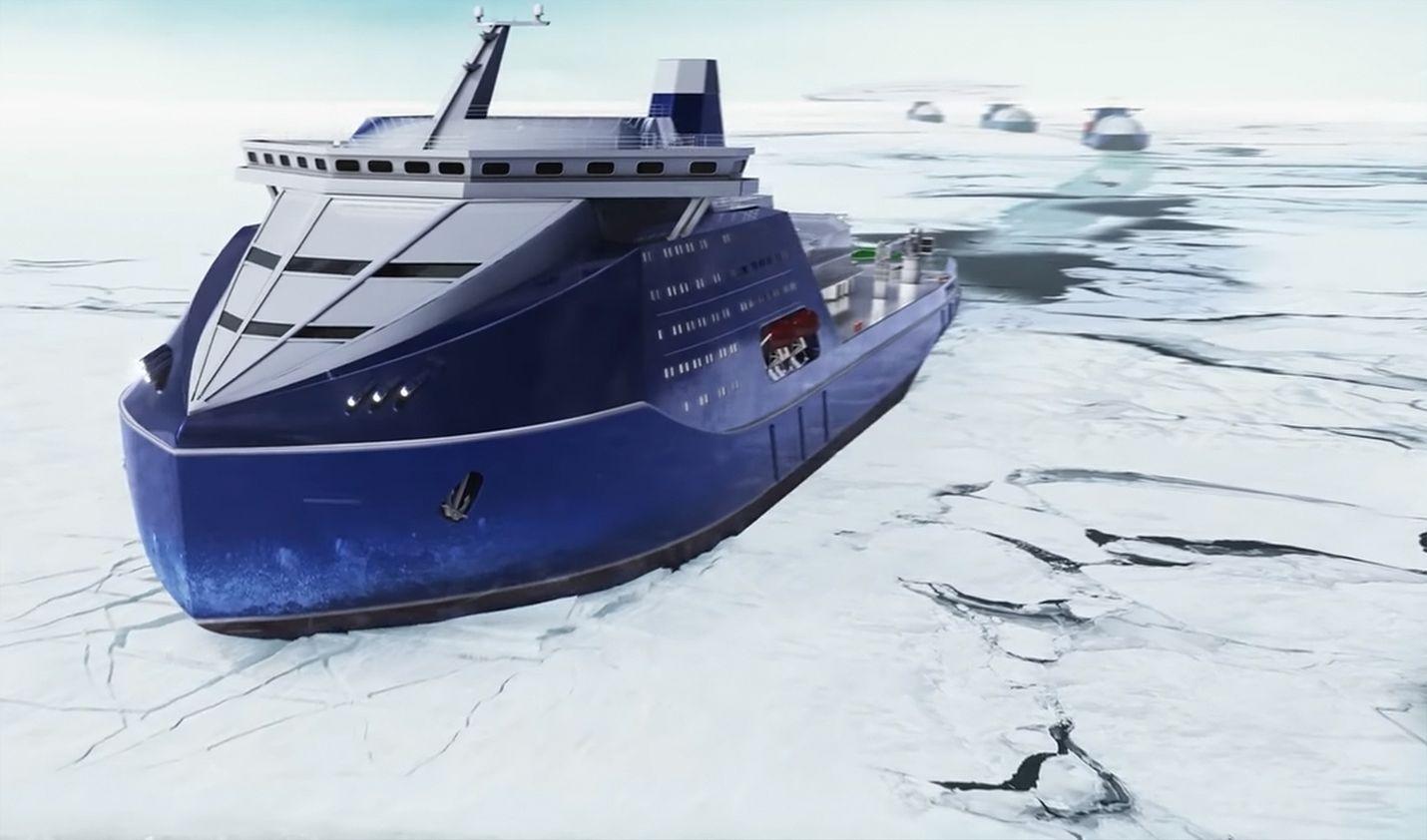 Lider-jäänmurtajan luvataan avaavan 50-metristä väylää yli nelimetriseen arktiseen jäähän. Alus on suurempi kuin esimerkiksi Viking Grace. Havainnekuvissakin alus näyttää nyt selvästi aiempaa vähemmän tieteiselokuvalta. Kuvakaappaus Rosatomin esittelyvideosta.