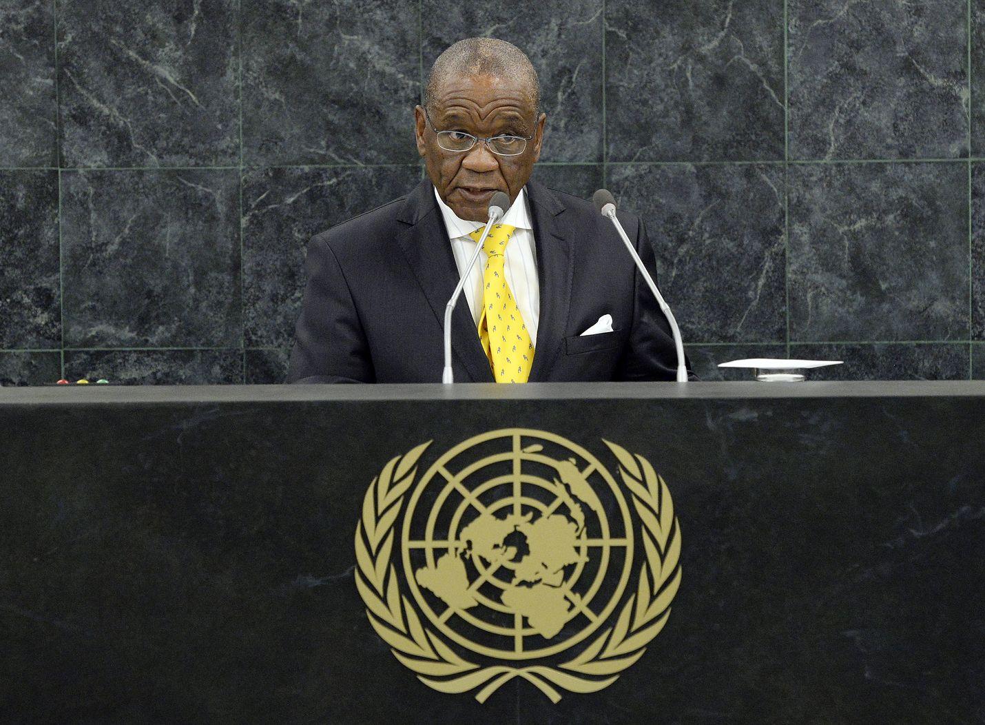 Lesothon väistyvä pääministeri Thomas Thabane puhui YK:n yleiskokouksessa vuonna 2013.