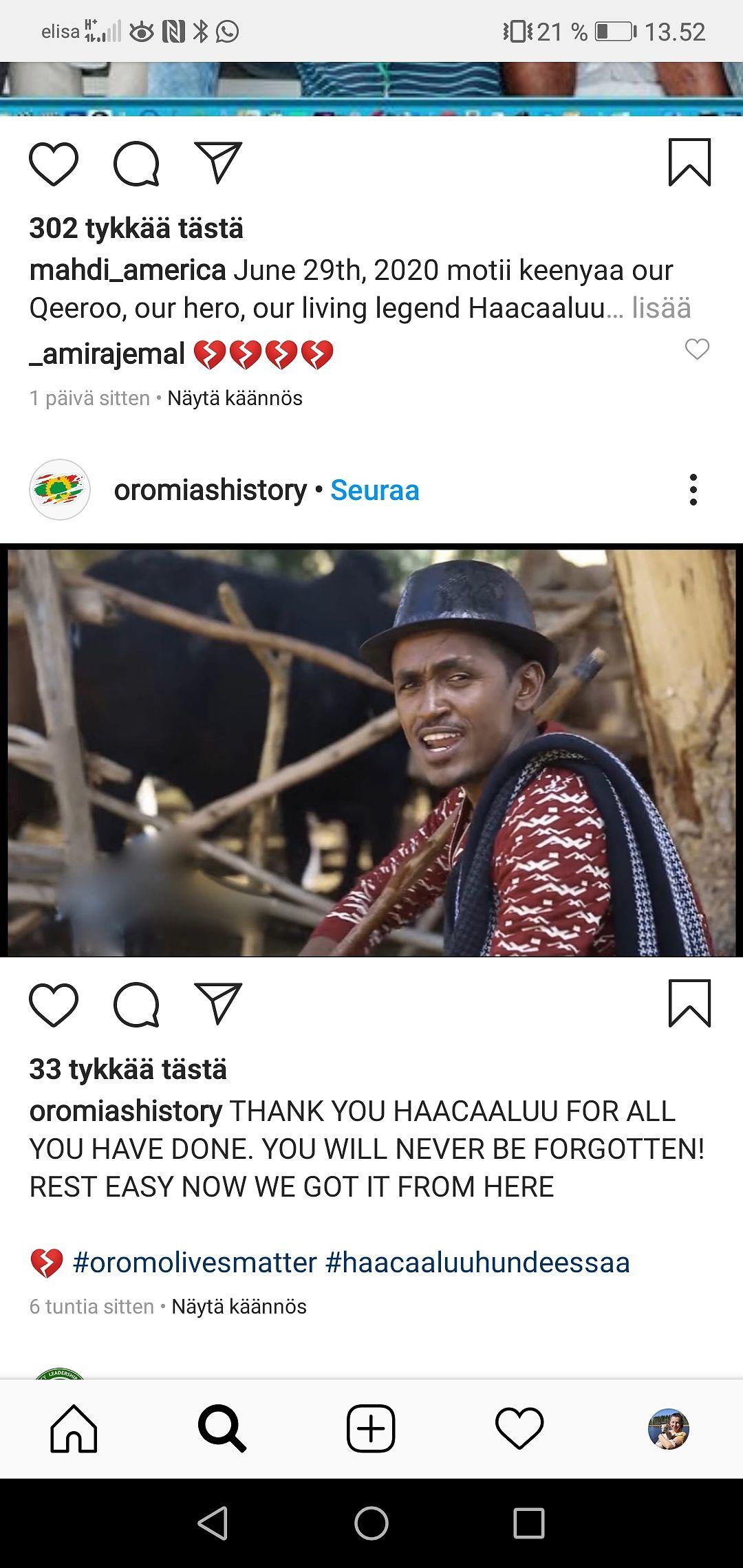 Etiopialaisen muusikon Hachalu Hundessan fanit ovat surreet idolinsa kuolemaa myös sosiaalisessa mediassa.