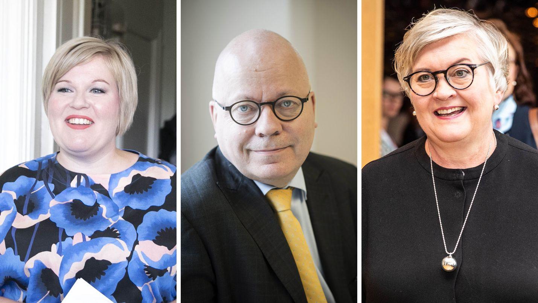 Silloiset keskustaministerit Annika Saarikko (vasemmalla) ja Anu Vehviläinen (oik.) tilasivat kriisiviestinnän konsultointia keväällä 2018. Keskellä viestintäkonsultti Harri Saukkomaa.