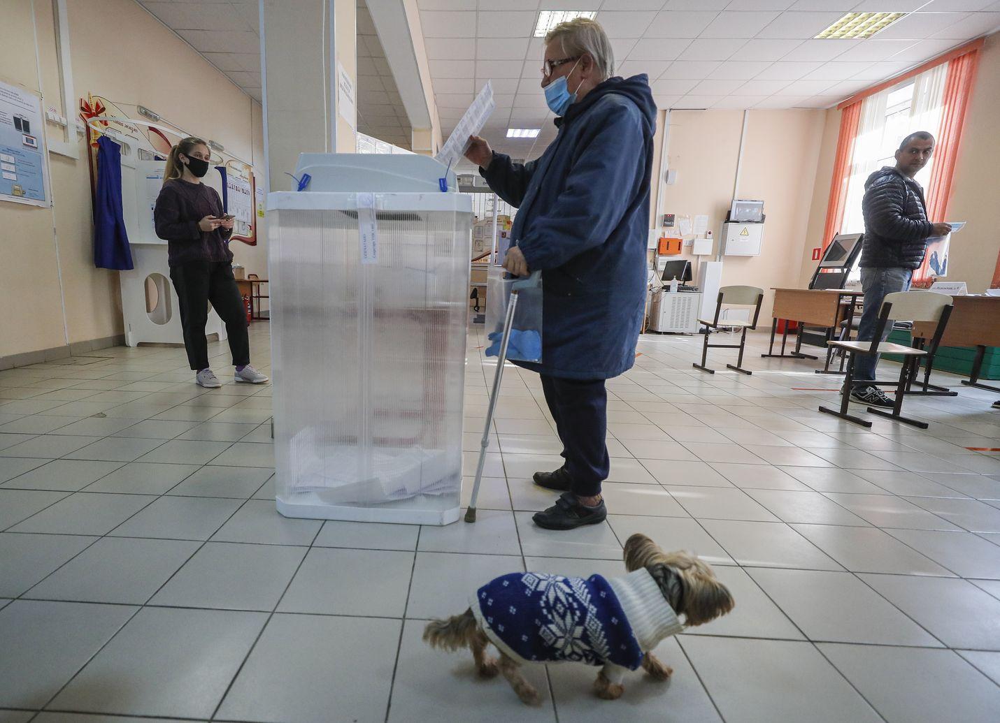 Nainen äänestää moskovalaisella äänestyspaikalla aluevaaleissa.