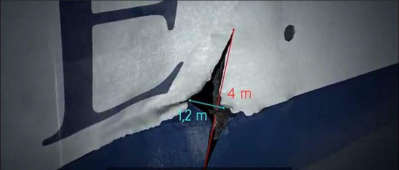 Dokumentin esittelemä havainnekuva laivan kyljessä olevasta halkeamasta.