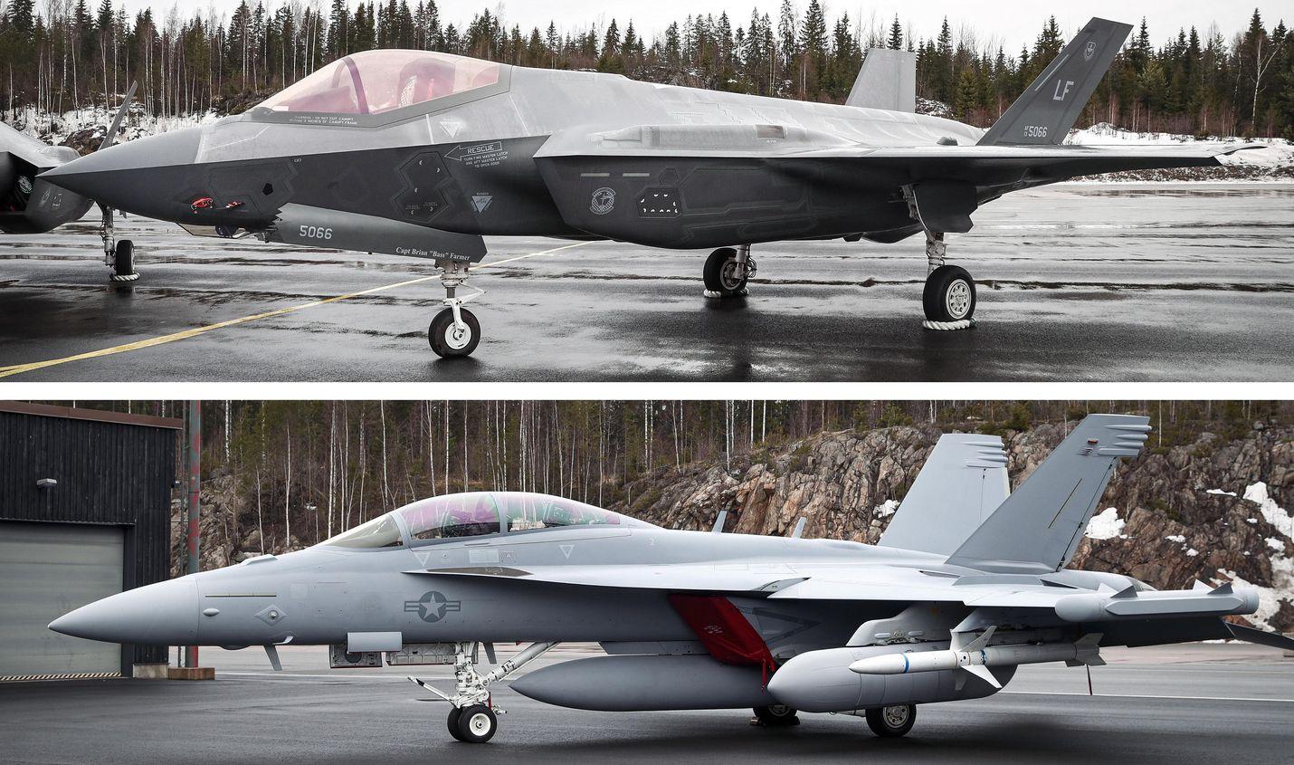 F-35:n (yllä) ja Super Hornetin (alla) vientiluvat julkaistiin Yhdysvaltain kongressille esiteltäviksi.