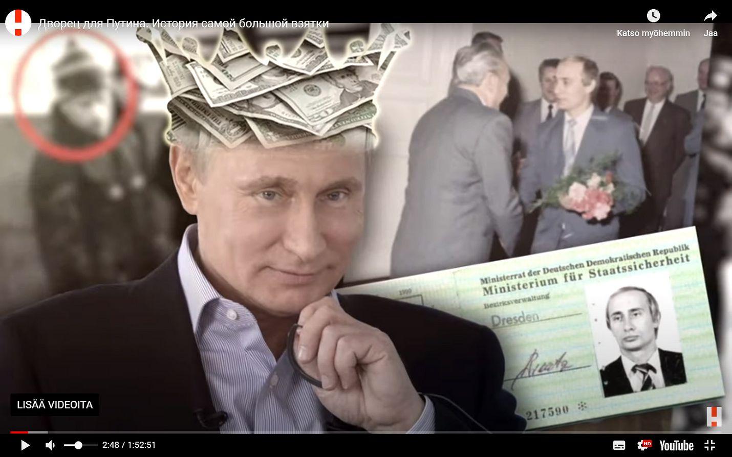 Oppositiojohtaja Aleksei Navalnyin julkaisemalla videolla Putinista esitellään tämän ökypalatsia. Kuvakaappaus Youtube-videosta.