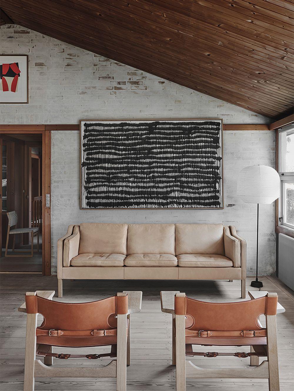 Fredericia Mogensen 2213 sohva, luonnonvärinen nahka - saippuoitu tammi