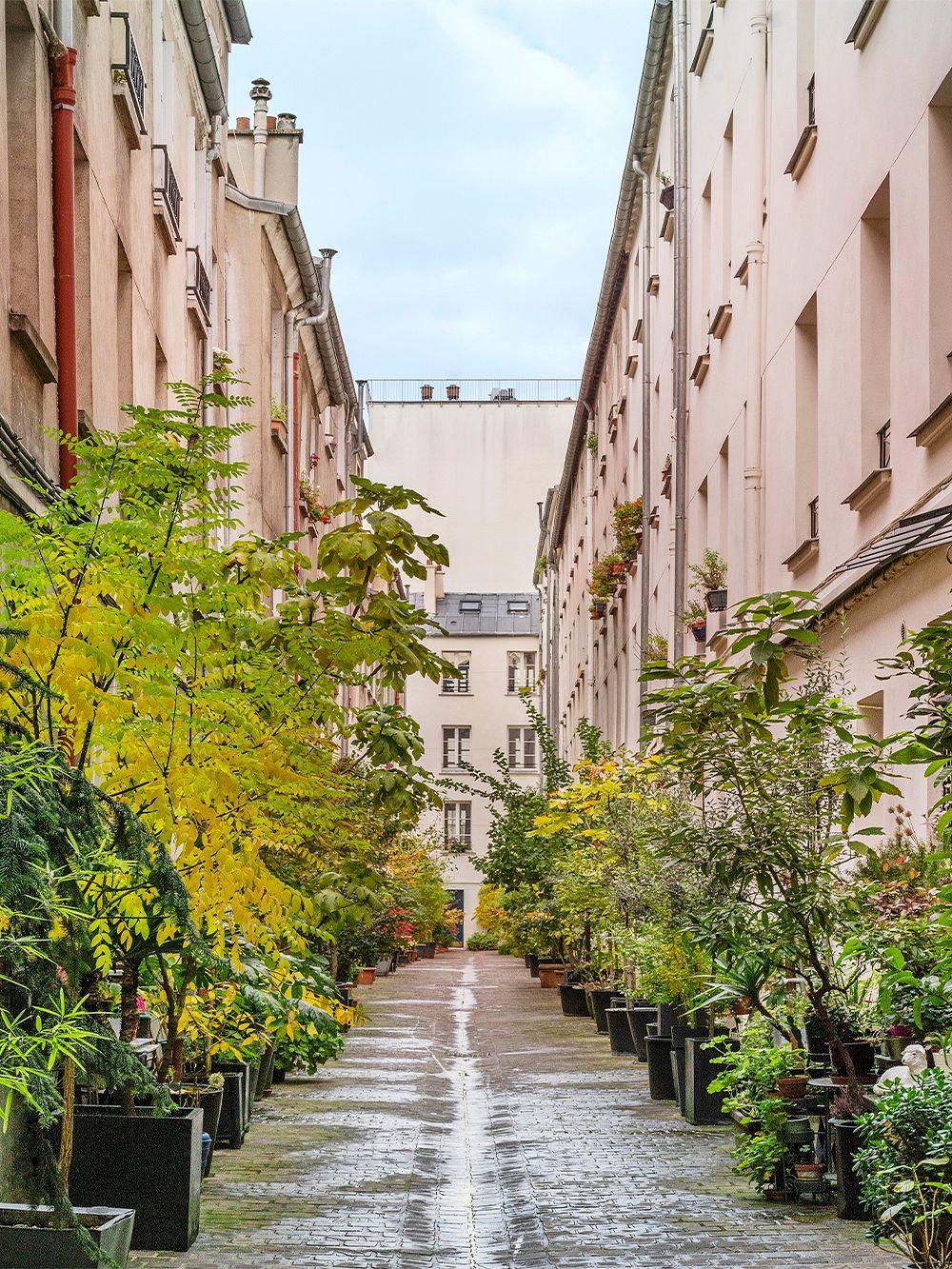Vehreä piha Rue du Faubourg-Saint-Denis'n varrella Pariisissa