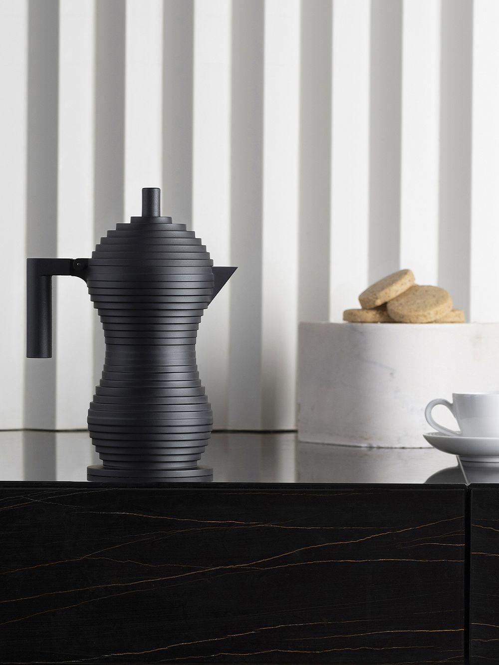 Alessi Pulcina espressopannu, 3 kuppia, musta
