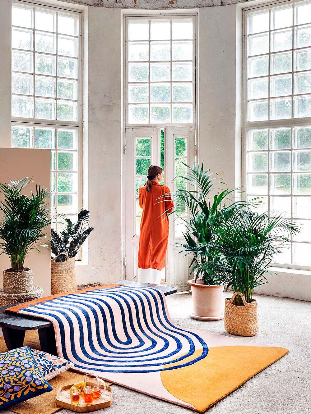 Finarten Atrium-matto osana olohuoneen sisustusta.
