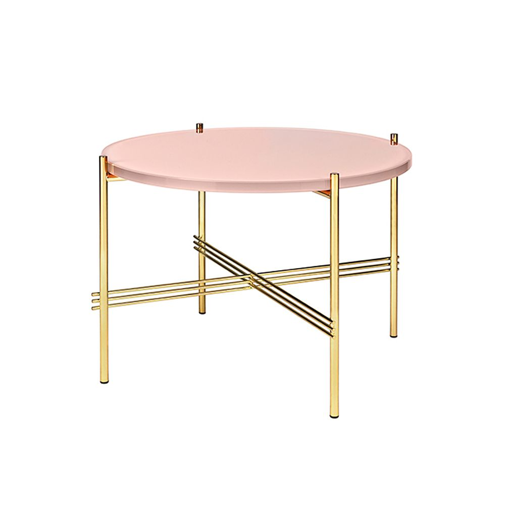 Gubi's TS coffee table, pink glass with brass.
