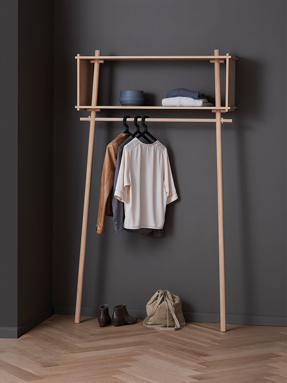 Woud's Illusion hangers on a coat rack.