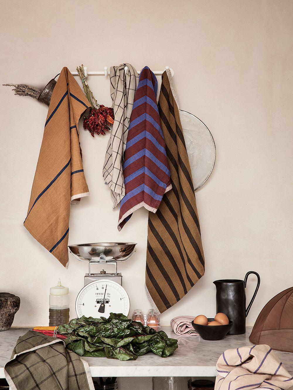 Ferm Living's Hale tea towels in different colors.