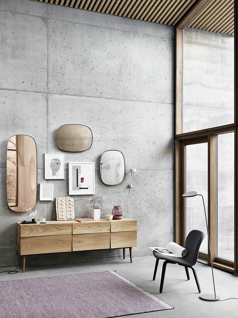 Muuto's Reflect sideboard as a part of the living room decor.