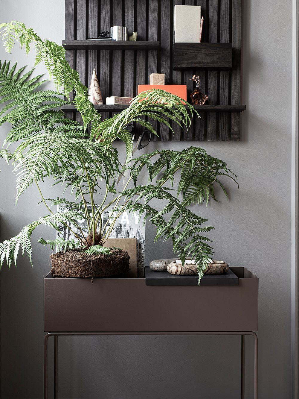 Ferm Living's Plant Box planter as a part of the decoration.