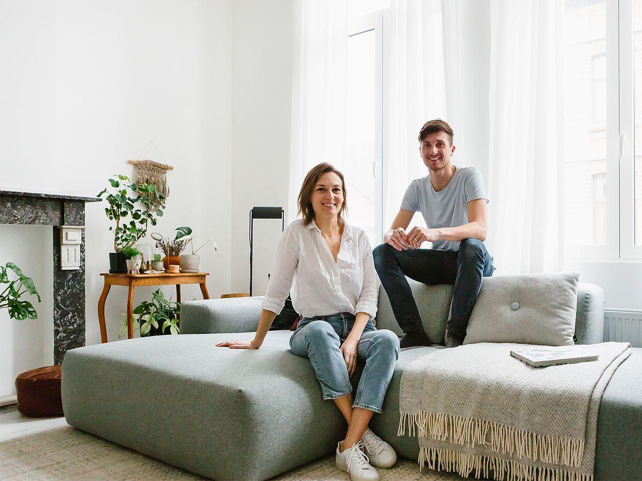 Lifestyle-vaikuttajat Sofie ja Yannick kotonaan.