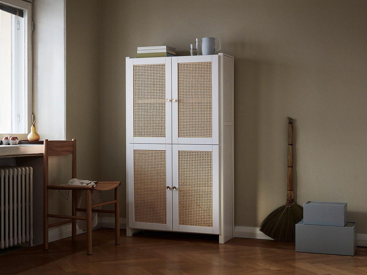 Lundia Classic kaappi rottinkiovilla, 84 x 149 cm, valkolakattu