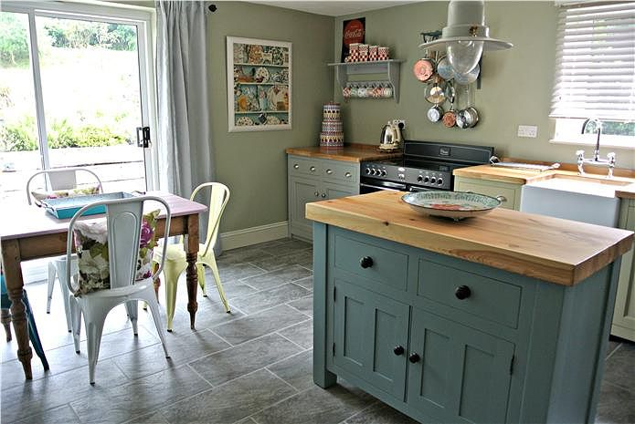 Farrow And Ball Kitchen Cabinet Paint Part - 23: A Beautiful Kitchen With Island Painted In Oval Room Blue, Walls In French  Gray