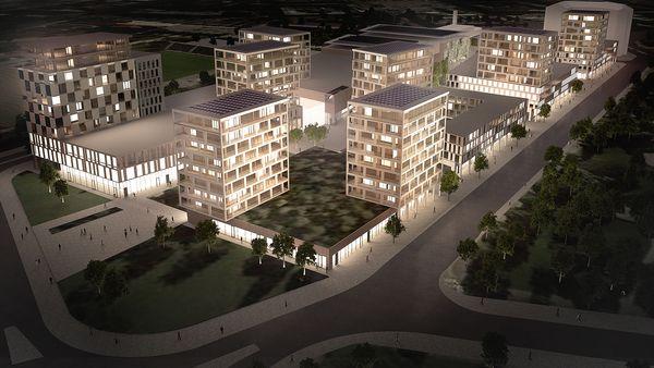 Kinos Propertyllä on suunnitelmissa Ranta-Kartanon alueella lähes 30 000 kerrosneliömetrin laajuinen kokonaisuus. Kuva: Sigge Architects / Kinos Property Investment