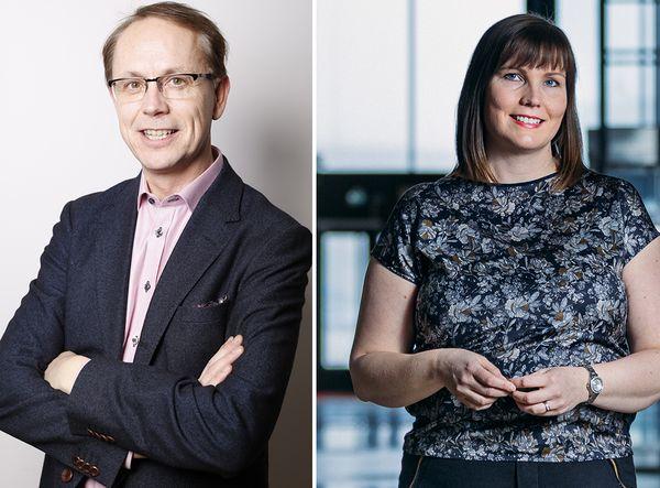 Greenstepin perustaja ja hallituksen puheenjohtaja Tore Teir ja Lahden toimipisteen Manager Hanna Heinonen.