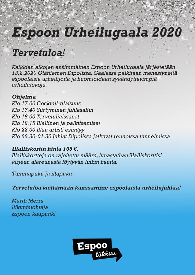 Espoon Urheilugaala 2020 Espoon Dipolissa 13.2.2020