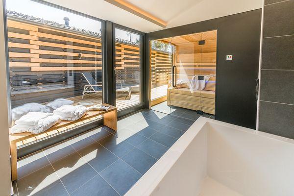 Exclusive-Ferienhaus Park Allgäu: Wellness-Badezimmer
