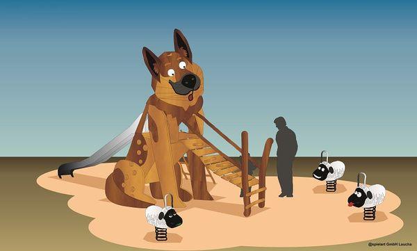 Der Schäferhund-Themenspielplatz in Bispinger Heide