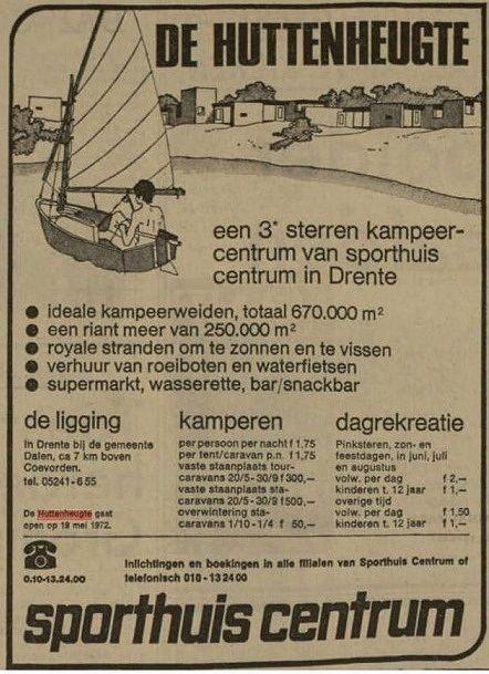 Eine Zeitungsanzeige aus dem April 1972, zur Eröffnung von De Huttenheugte