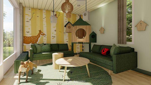 So soll das Wohnzimmer des neuen Waldtiere-Ferienhauses aussehen.