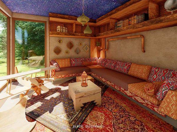 So wird der Wohnbereich des neuen Abenteuer-Ferienhauses in Het Heijderbos aussehen.