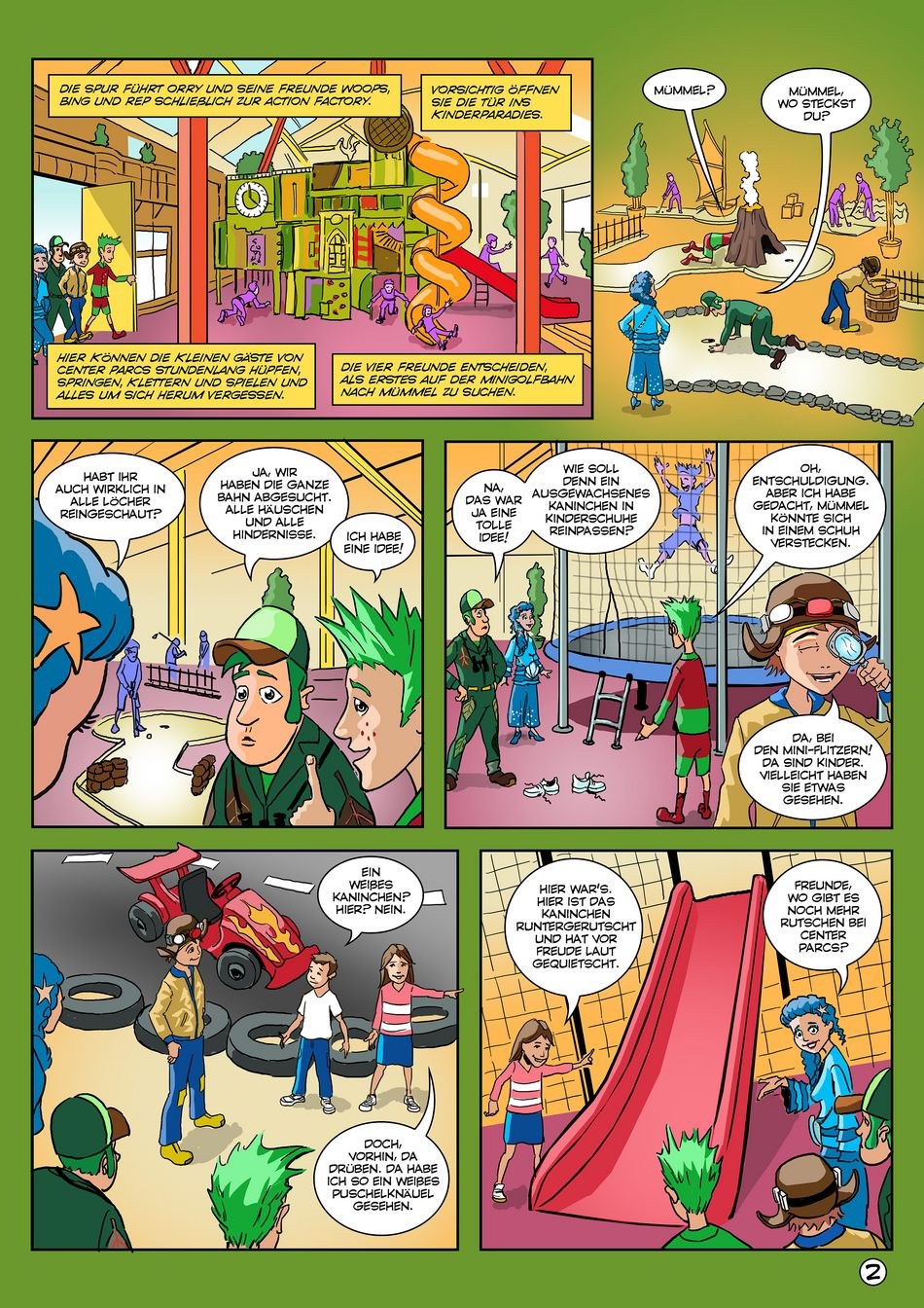 Zweite Seite des Orry-Comics von Center Parcs