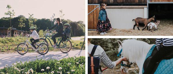 Une balade à vélo, une petite ville à la Ferme et une petit fille sur un cheval