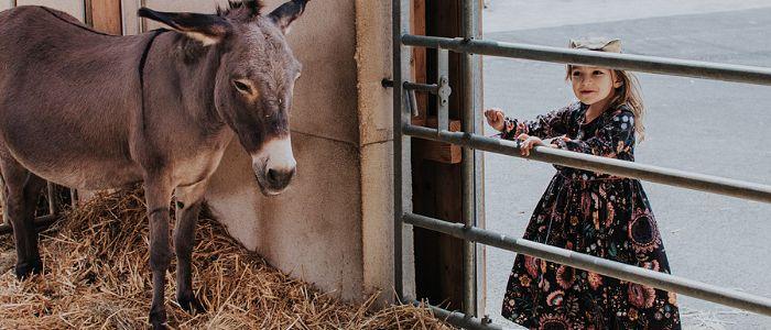 Une petite fille sur la droite avec un poney sur sa gauche