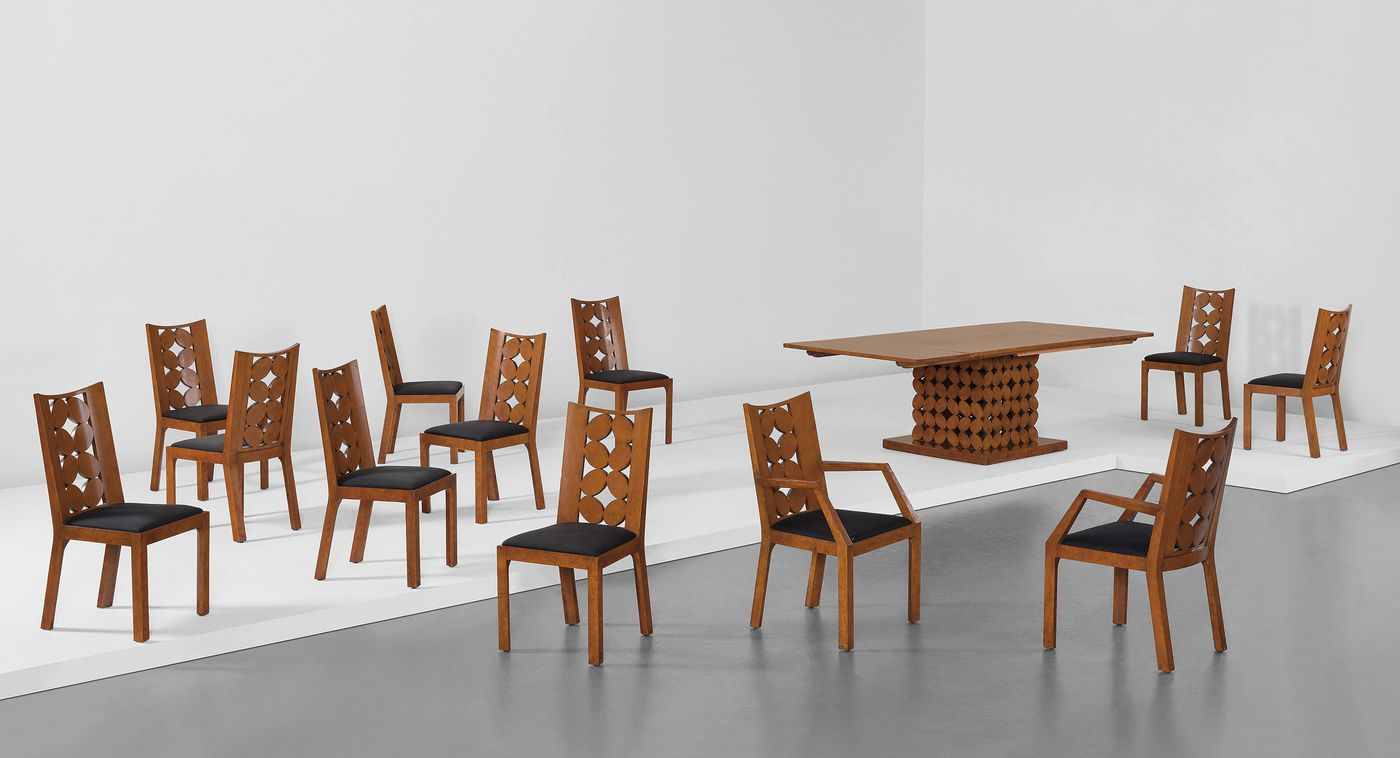 Rediscovered in the 1970s and held in private collections until now, a unique dining room suite recalls modern American art and Wiener Wertstätte design tenets.