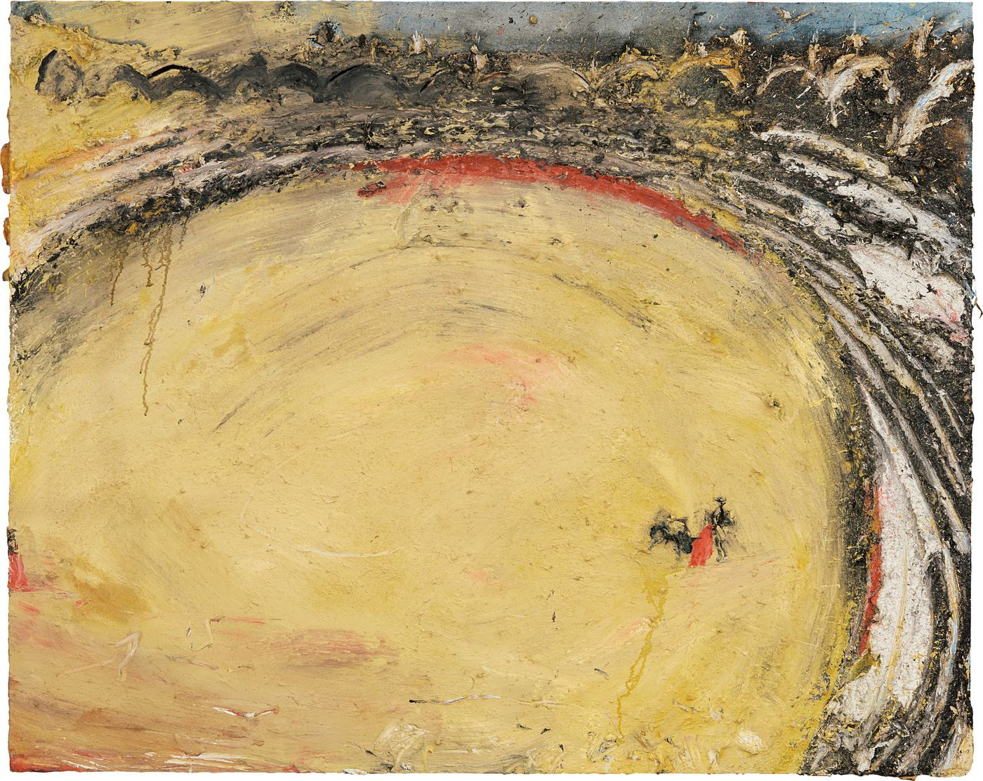 Executed after a revelatory trip to Africa, Miquel Barceló's violently impastoed 'Muletero', 1990 is one of the artist's most celebrated bullfight scenes.
