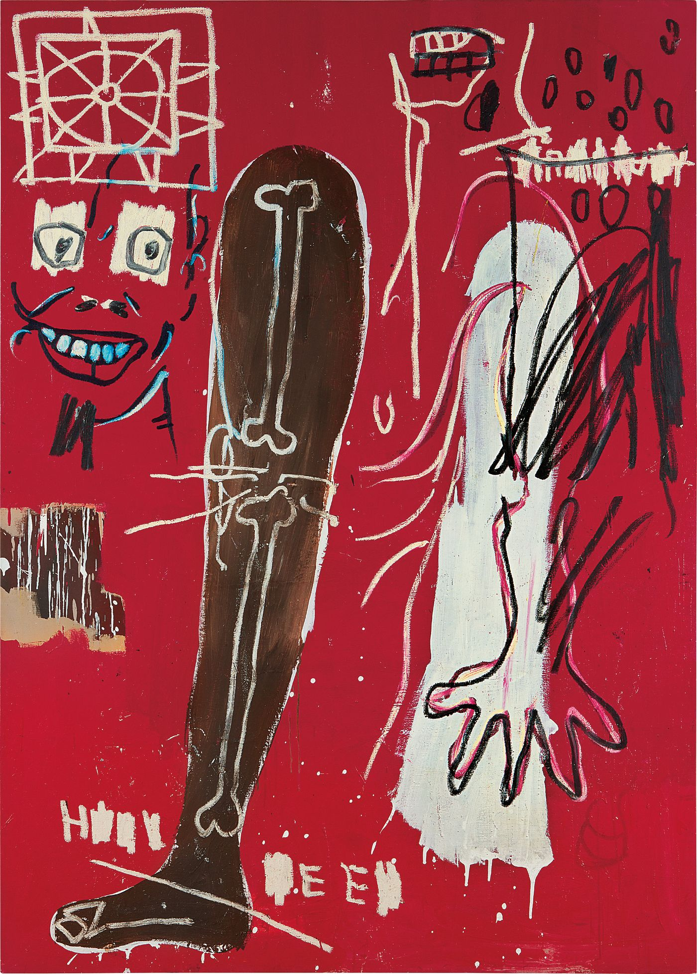 A dense Basquiat composition references pop culture, 1940s jazz and a fascination with the human anatomy.