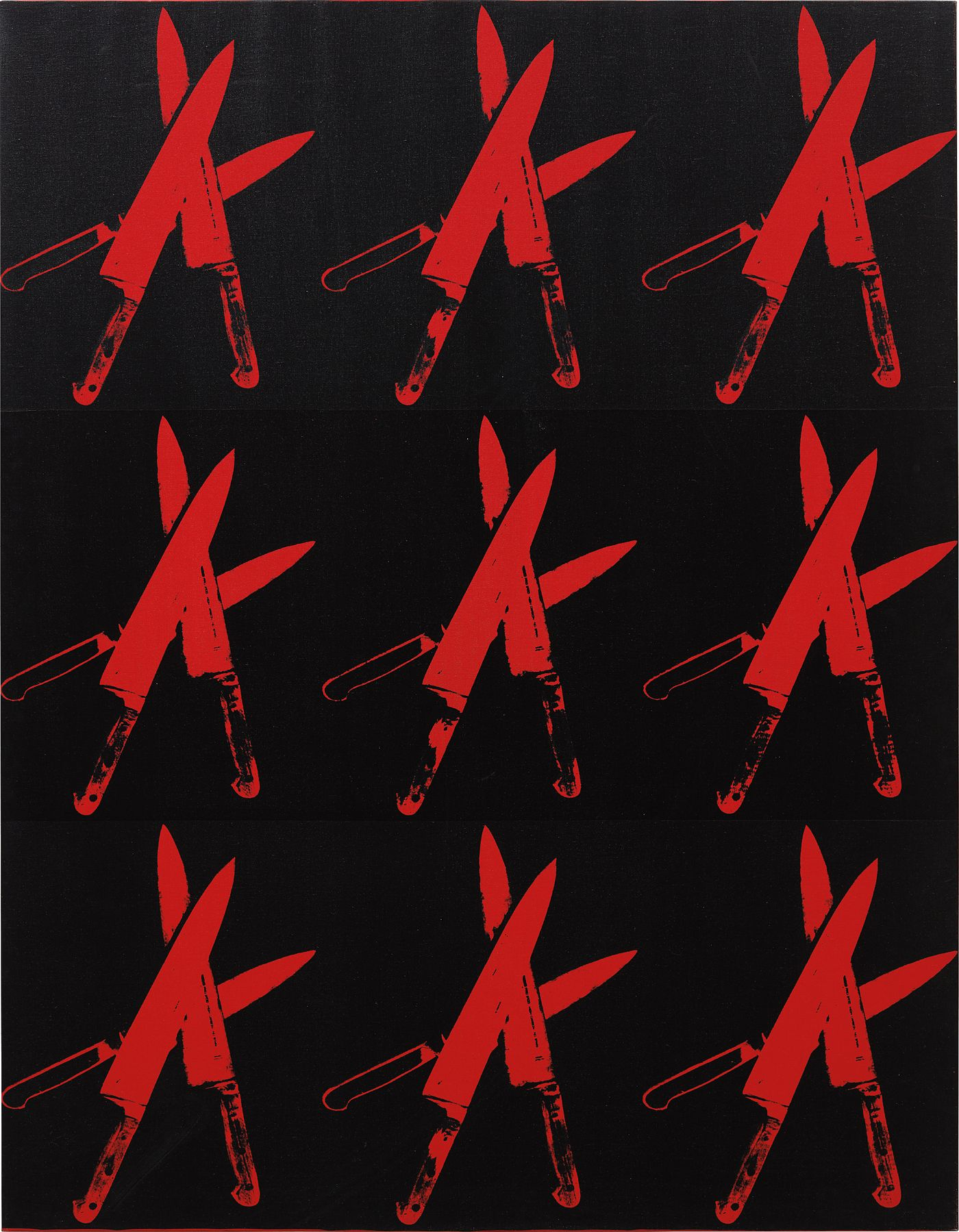 Andy Warhol's silkscreens of knives and guns—the physical instruments of violence—reveal an artist delving into the domain of mortality.