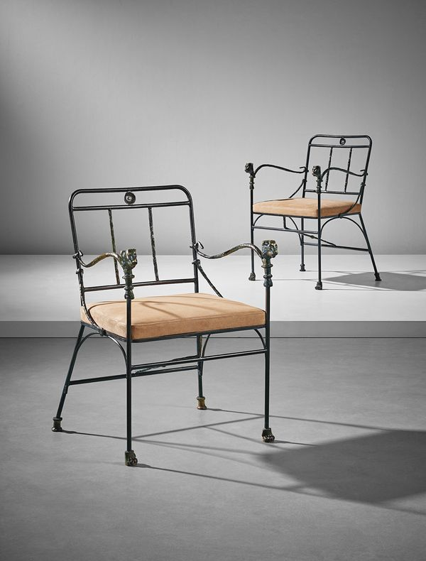 In patined bronze and wrought iron, Giacometti's 'Têtes de Lionnes' chairs reflect his reverence for Greek, Roman and Egyptian culture.