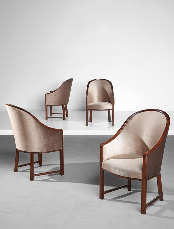 "Pierre Chareau Set of four ""Gondole"" armchairs, model no. MF 11, circa 1922"