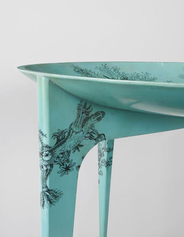 """Giò Ponti and Piero Fornasetti Rare """"Madrepore"""" dining table, circa 1950 (detail)"""