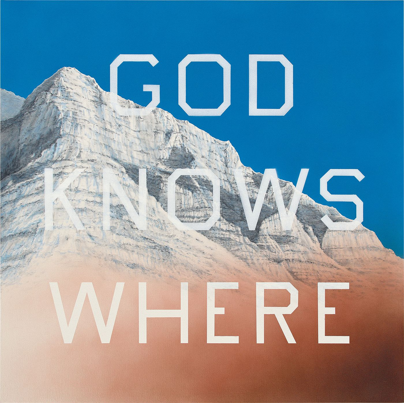 In this 2014 painting, Ruscha renders a spiritual scene absurd through the inclusion of commercially-appropriated text.