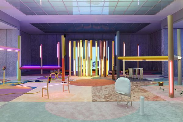With recent shows at MASS MoCA and the Vienna Secession, Alex Da Corte continues to gain notoriety with his colorful and highly stylized collages and installations.