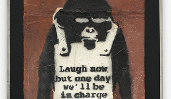 """Banksy's """"Laugh Now Panel A"""" is the first lot in Asia to be auctioned with cryptocurrency as payment."""