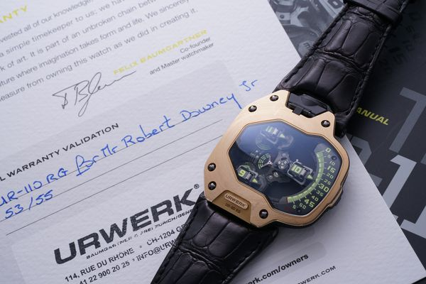 Featured in 'Spiderman: Homecoming', this Urwerk Reference UR-110RG—to be sold to benefit Manusodany, a Haitian non-profit organization—was chosen by actor and watch collector Robert Downey Jr. for his portrayal of Tony Stark.